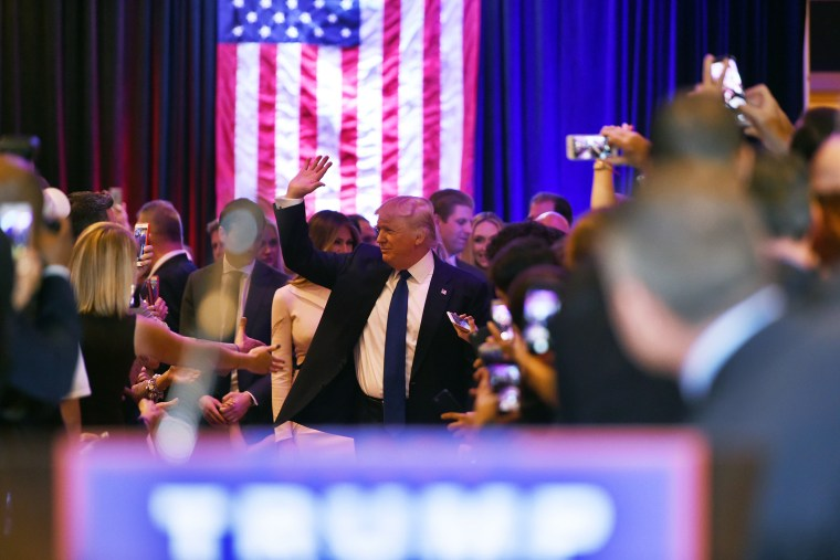 Republican presidential candidate Donald Trump speaks following victory in the New York state primary on April 19, 2016 in New York, N.Y. (Photo by Jewel Samad/AFP/Getty)