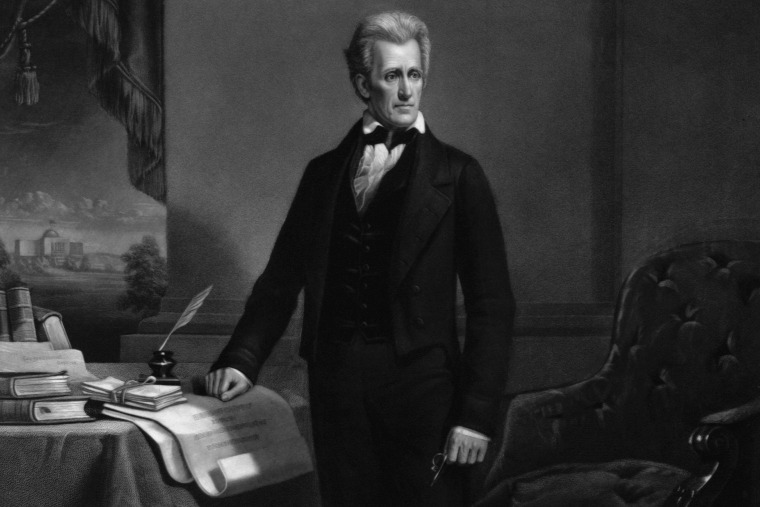 Engraving of President Andrew Jackson created in 1860 by A.H. Ritchie after a painting by Dennis Malone Carter. (Photo by Corbis)