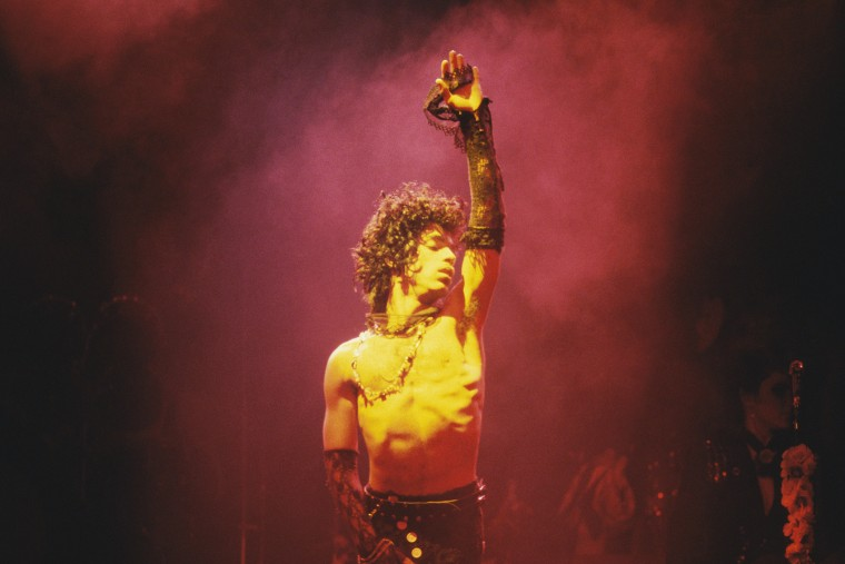 Prince performs in Los Angeles, Calif. circa 1985. (Photo by Michael Ochs Archives/Getty)