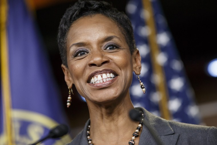Rep. Donna Edwards, D-Md., smiles after being announced as co-chair of the House Democrats' Steering and Policy Committee during a news conference at the Capitol in Washington, Nov. 17, 2014. (Photo by J. Scott Applewhite/AP)