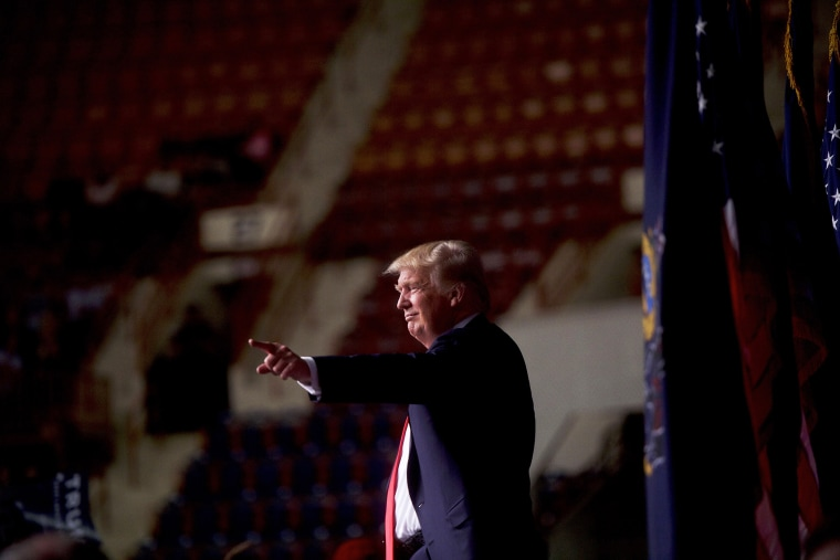 Republican presidential hopeful Donald Trump points to supporters following a rally at the Pennsylvania Farm Show Complex & Expo Center on April 21, 2016 in Harrisburg, Penn. (Photo by Mark Makela/Getty)