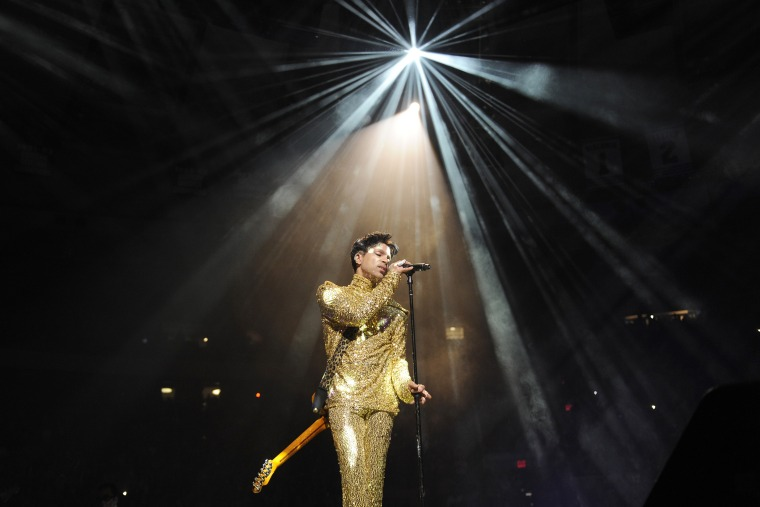 """Prince performs during his """"Welcome 2 America"""" tour at Madison Square Garden on Feb. 7, 2011 in New York, N.Y. (Photo by Kevin Mazur/WireImage/Getty)"""