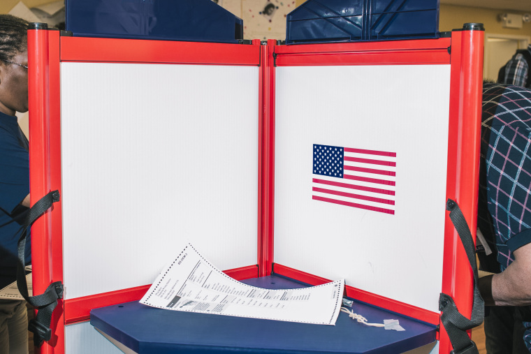 A detail of a voting booth at a early voting site in downtown Baltimore.
