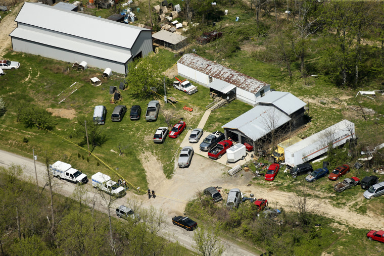 This aerial photo shows one of the locations being investigated in Pike County, Ohio, as part of an ongoing homicide investigation, April 22, 2016. (Photo by Lisa Marie Miller/The Columbus Dispatch/AP)