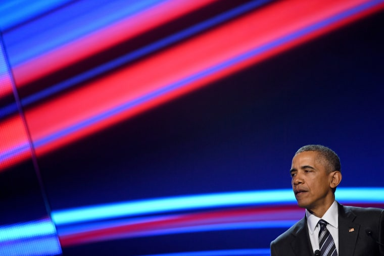 President Obama speaks at the opening evening of the Hannover Messe trade fair on April 24, 2016 in Hanover, Germany. (Photo by Alexander Koerner/Getty)