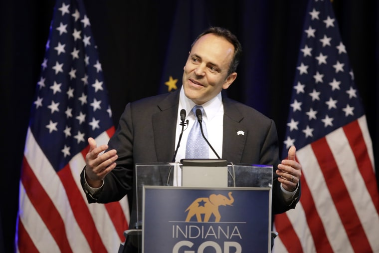 Kentucky Gov. Matt Bevin speaks during the Indiana Republican Party Spring Dinner, April 21, 2016, in Indianapolis. (Photo by Darron Cummings/AP)