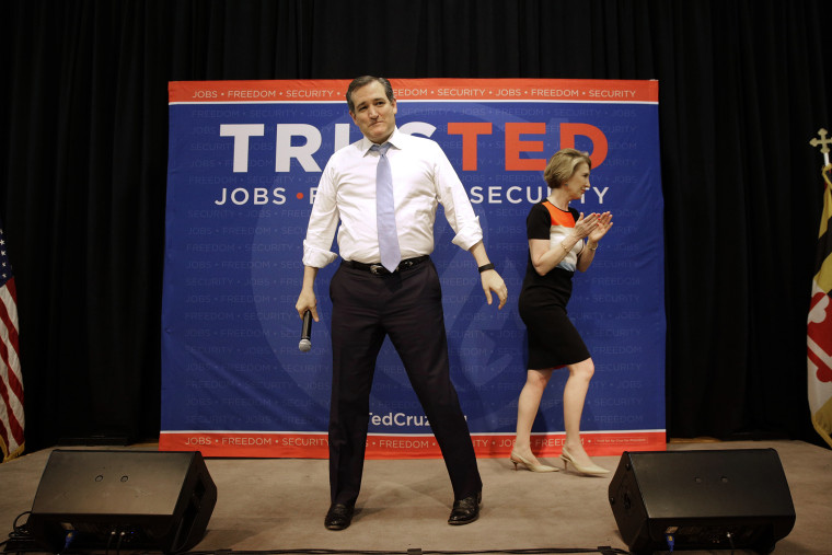 Republican presidential candidate, Sen. Ted Cruz, R-Texas stands onstage after being introduced by former candidate Carly Fiorina, during a rally in Towson, Md., April 18, 2016. (Photo by Patrick Semansky/AP)
