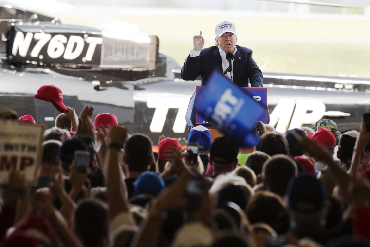 Republican presidential candidate Donald Trump speaks during a campaign rally in Hagerstown, Md., April 24, 2016. (Photo by Manuel Balce Ceneta/AP)