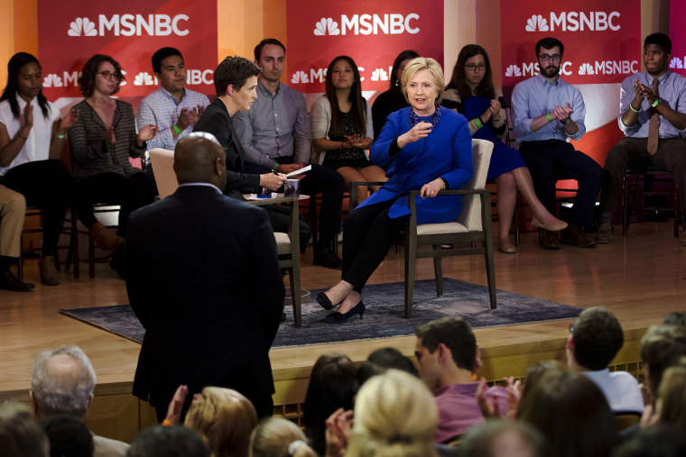 Democratic presidential candidate Hillary Clinton speak during a town hall with MSNBC's Rachel Maddow, April 25, 2016, at the National Constitution Center in Philadelphia. (Photo by Matt Rourke/AP)