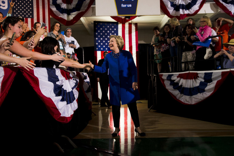 Democratic presidential candidate Hillary Clinton arrives at a campaign stop, April 25, 2016, at Westmoreland County Community College in Youngwood, Pa. (Photo by Matt Rourke/AP)