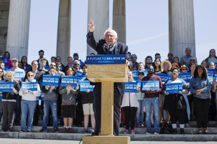 Democratic presidential candidate, U.S. Sen. Bernie Sanders (D-VT) speaks during a rally at Roger Williams Park on April 24, 2016 in Providence, R.I. (Photo by Scott Eisen/Getty)