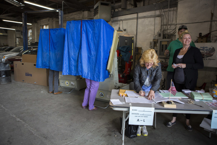 Pennsylvania residents cast their primary day ballots on April 26, 2016 in Philadelphia, Pa. (Photo by Jessica Kourkounis/Getty)