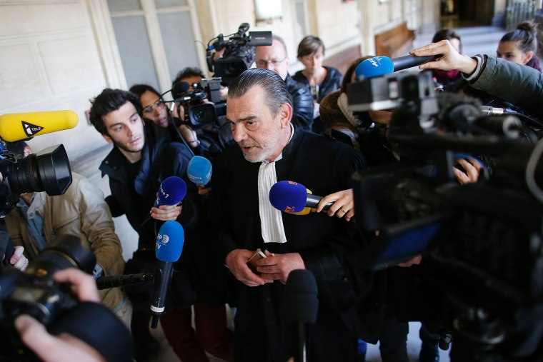 Frank Berton, lawyer of Paris attacks suspect Salah Abdeslam, speaks to the press at the Paris courthouse on April 27, 2016. (Photo by Matthieu Alexandre/AFP/Getty)