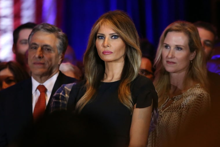 Melania Trump watches as her husband speaks to the media at Trump Towers after the primaries in northeastern states on April 26, 2016 in New York. (Photo by Spencer Platt/Getty)