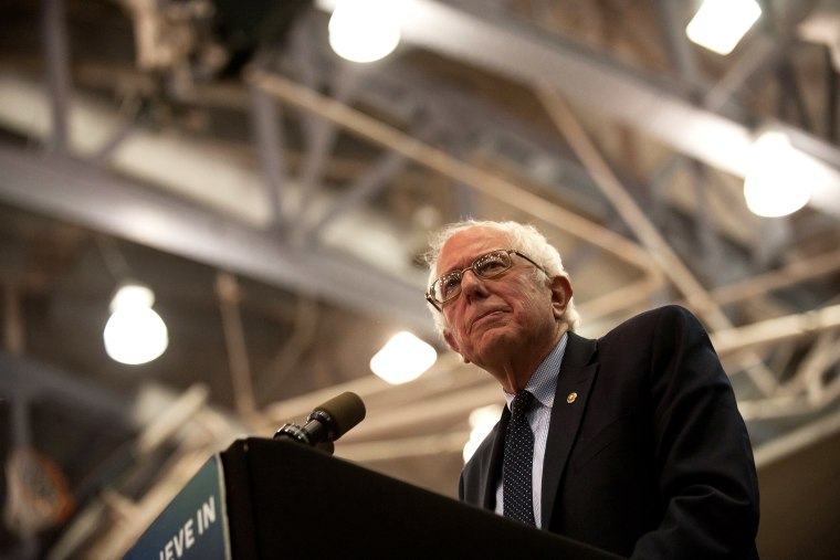 Democratic presidential candidate Bernie Sanders speaks at a rally at the Rec Hall at Penn State University on April 19, 2016 in University Park, Pa. (Photo by Jeff Swensen/Getty)