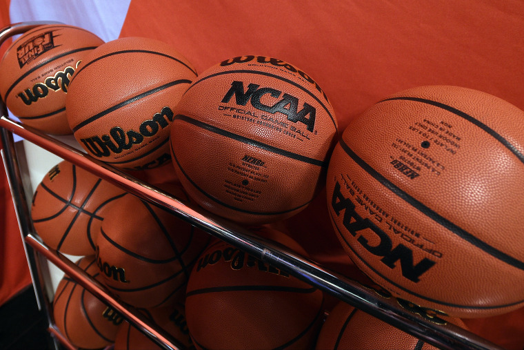 Wilson NCAA basketballs are seen at Lucas Oil Stadium on April 3, 2015 in Indianapolis, Ind. (Photo by Lance King/Getty)