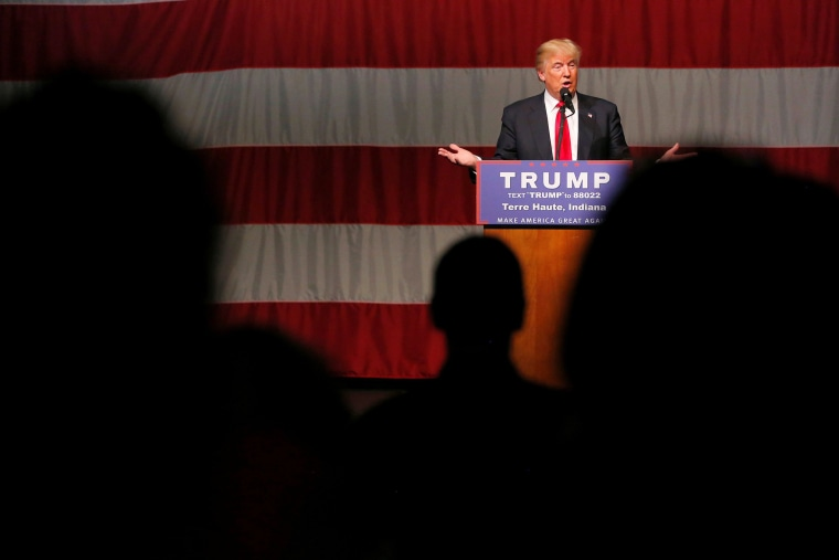 Republican presidential candidate Donald Trump speaks at a campaign event at the Indiana Theater in Terre Haute, Ind., May 1, 2016. (Photo by Aaron P. Bernstein/Reuters)
