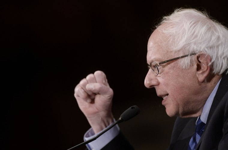 Democratic presidential candidate Bernie Sanders speaks during a press conference at the National Press Club, May 1, 2016 in Washington DC. (Photo by Olivier Douliery/AFP/Getty)