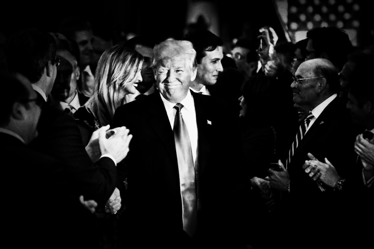 Donald Trump greets supporters after giving a victory speech, following his win in Indiana's primary, May 3, 2016. (Photo by Mark Peterson/Redux for MSNBC)