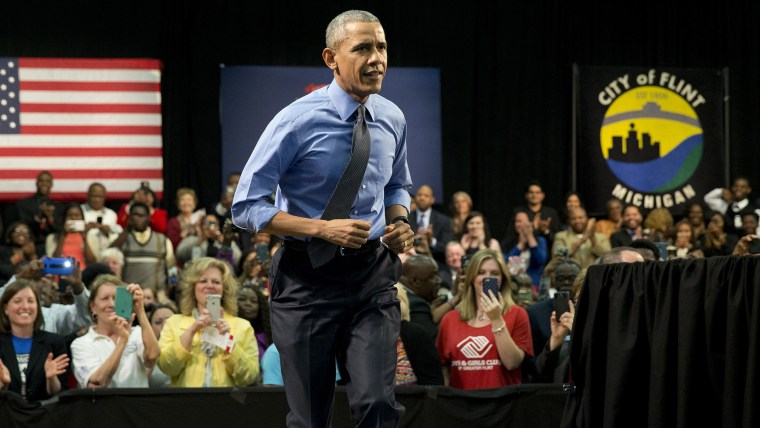 President Barack Obama arrives to speak at Flint Northwestern High School in Flint, Mich. on May 4, 2016, about the ongoing water crisis. (Photo by Carolyn Kaster/AP)