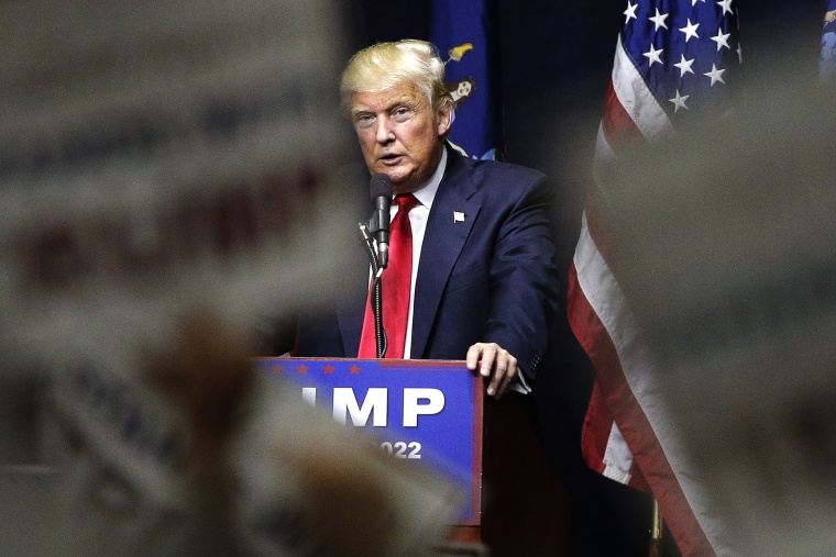 Republican presidential candidate Donald Trump speaks during a campaign rally, April 6, 2016, in Bethpage, N.Y. (Photo by Julie Jacobson/AP)