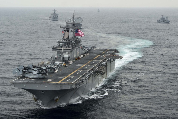 In this handout photo provided by the U.S. Navy, the amphibious assault ship USS Boxer (LHD 4) transits the East Sea on March 8, 2016 during Exercise Ssang Yong 2016. (Photo by MCSN Craig Z. Rodarte/U.S. Navy/Getty)