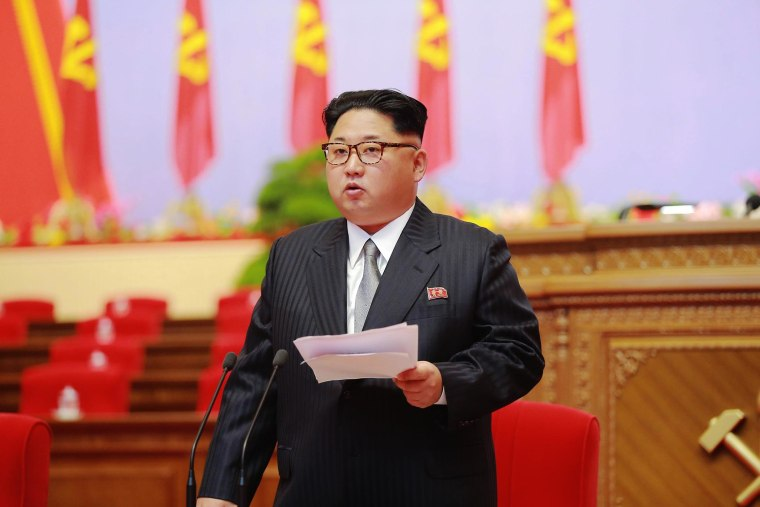 North Korean leader Kim Jong-un speaking during the 7th Congress of the Workers' Party of Korea (WPK), the first such congress held in 36 years since 1980, in Pyongyang, North Korea, May 6, 2016. (Photo by Korean Central News Agency/EPA)