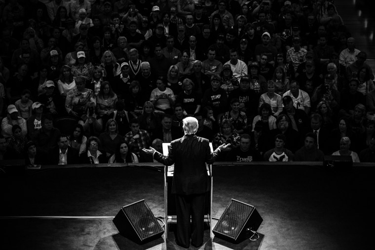 Presidential candidate Donald Trump at a rally in Carmel, Indiana. (Photo by Mark Peterson/Redux for MSNBC)