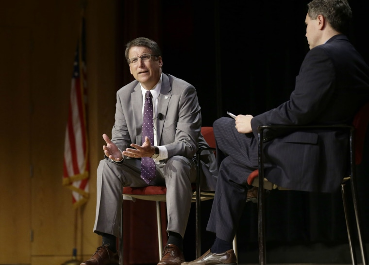 North Carolina Gov. Pat McCrory makes remarks concerning House Bill 2 while speaking during a government affairs conference in Raleigh, N.C., May 4, 2016. (Photo by Gerry Broome/AP)