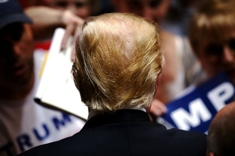 Image: U.S. Republican presidential candidate Donald Trump holds a campaign rally in Spokane, Washington
