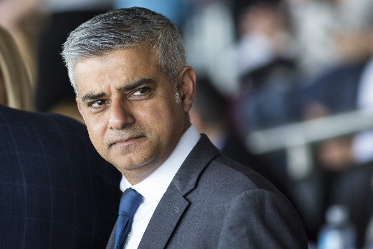 London Mayor Sadiq Khan attends Yom HaShoah, the Jewish Community's Holocaust Remembrance Day, at the Barnet Copthall Stadium on May 8, 2016 in London, England. (Photo by Jack Taylor/Getty)