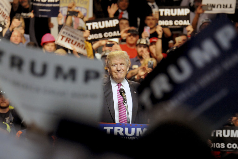 Republican U.S. presidential candidate Donald Trump speaks to supporters in Charleston, W. Va. on May 5, 2016. (Photo by Chris Tilley/Reuters)