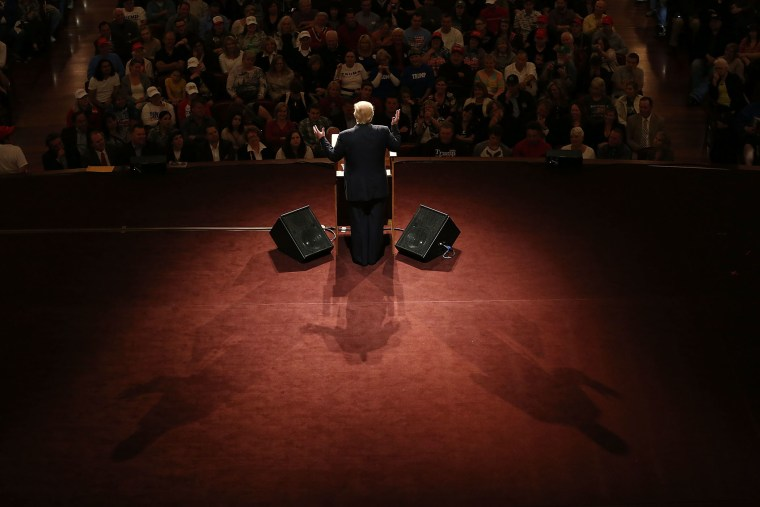 Republican presidential candidate Donald Trump speaks during a campaign stop at the Palladium at the Center for the Performing Arts on May 2, 2016 in Carmel, Indiana. (Photo by Joe Raedle/Getty)