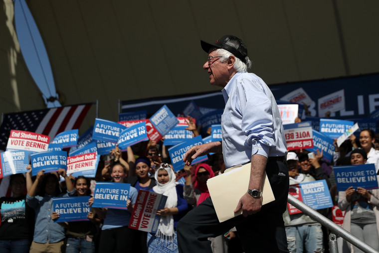 Democratic presidential candidate Sen.Bernie Sanders (D-VT) arrives to speak at a campaign rally on May 10, 2016 in Stockton, Calif. (Photo by Justin Sullivan/Getty)