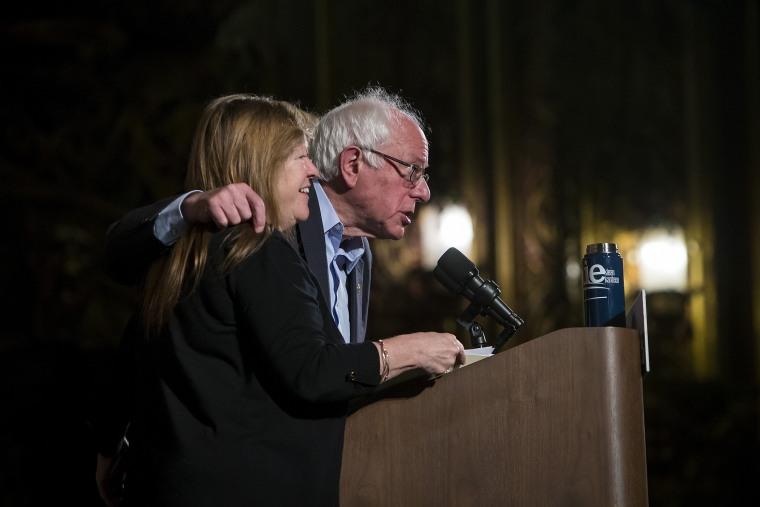 Democratic presidential candidate Sen. Bernie Sanders (D-VT) and his wife Jane attend a campaign rally at the United Palace on April 9, 2016 in the Brooklyn borough of New York City. (Photo by Eric Thayer/Getty)