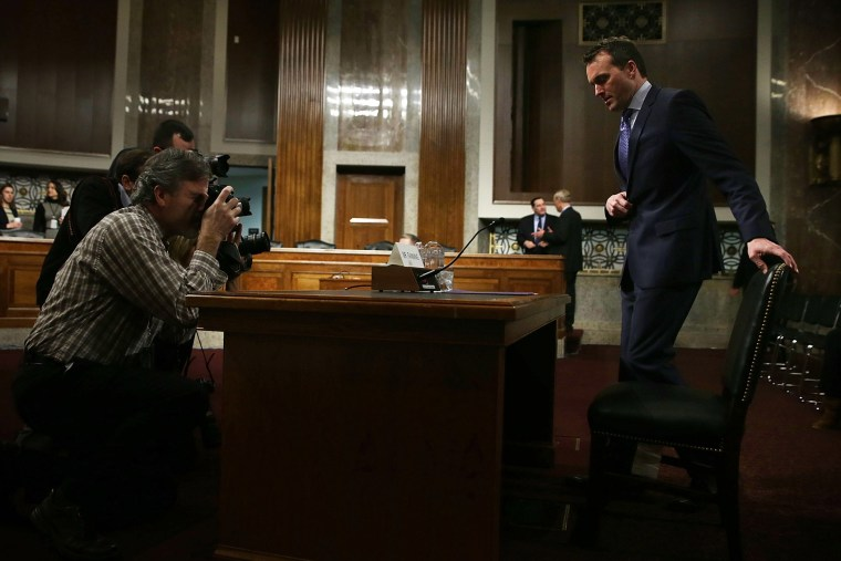 Acting U.S. Secretary of the Army Eric Fanning takes his seat as he arrives at his confirmation hearing Jan. 21, 2016 on Capitol Hill in Washington, DC. (Photo by Alex Wong/Getty)