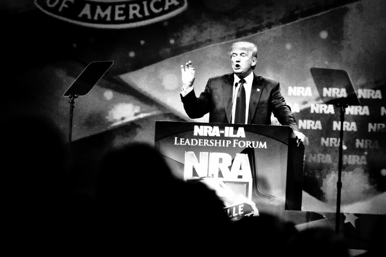Donald Trump speaks after accepting an endorsement at the NRA-ILA Leadership Forum in Louisville, Ky., May 20, 2016. (Photo by Mark Peterson/Redux for MSNBC)