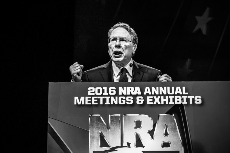 NRA CEO Wayne LaPierre speaks to members at the annual convention, Louisville, Ky., May 21, 2016.