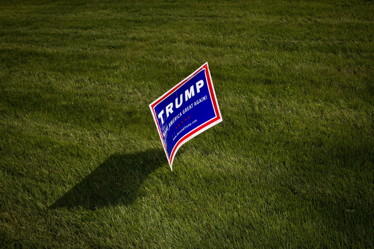 A campaign sign for Donald Trump is seen before an event in Lawrenceville, N.J., May 19, 2016. (Photo by John Taggart/Bloomberg/Getty)