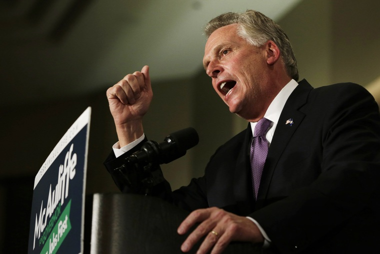 Terry McAuliffe speaks to supporters during his election night victory rally in Tyson's Corner, Va., Nov. 5, 2013. (Photo by Gary Cameron/Reuters)