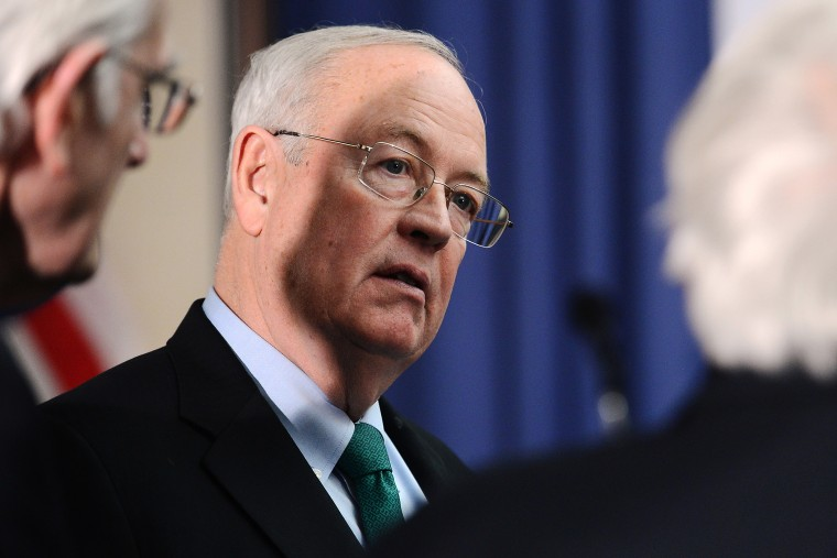 """Baylor University President Ken Starr attends a discussion about \""""The State of Higher Education and the Calling of Faith-based Universities,\"""" in Washington, Feb. 4, 2015. (Photo by Chuck Myers/ZUMA)"""