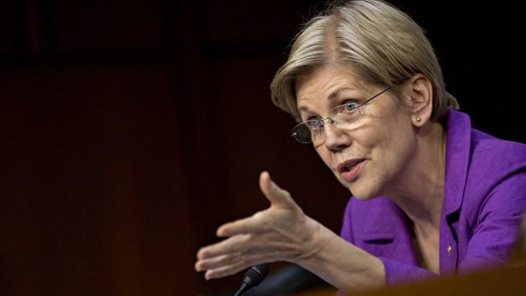 Senator Elizabeth Warren (D-Mass) speaks during a hearing in Washington, D.C., on April 27, 2016. (Photo by Andrew Harrer/Bloomberg/Getty)