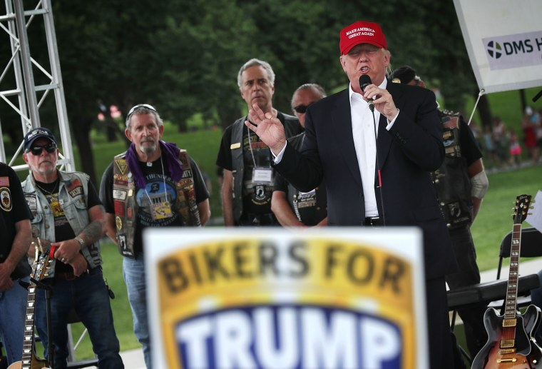 Republican presidential candidate Donald Trump speaks during the annual Rolling Thunder First Amendment Demonstration Run, May 29, 2016 in Washington, DC. (Photo by Alex Wong/Getty)