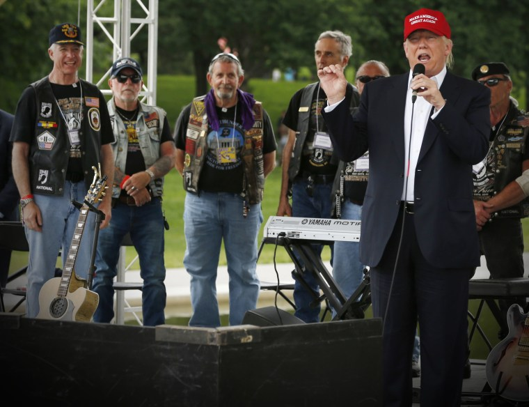 Republican U.S. presidential candidate Donald Trump addresses bikers as part of the Rolling Thunder speakers program at the Reflecting Pool near the Lincoln Memorial in Washington, May 29, 2016. (Photo by Jonathan Ernst/Reuters)