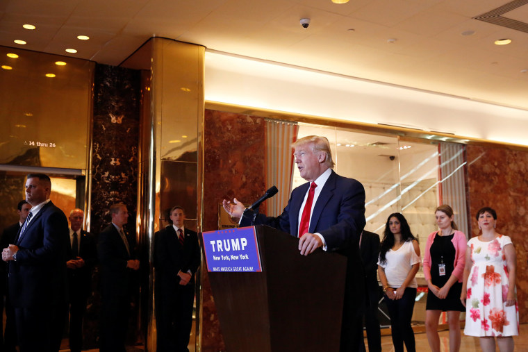 U.S. Republican presidential candidate Donald Trump addresses the media regarding donations to veterans foundations at Trump Tower in N.Y on May 31, 2016. (Photo by Lucas Jackson/Reuters)