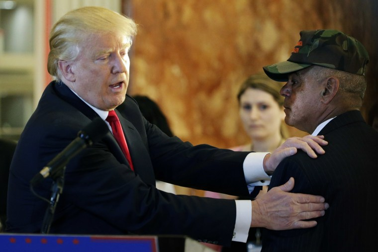 Republican presidential candidate Donald Trump thanks veteran Al Baldasaro after he addressed the media during a speech on Veteran affairs in the lobby of Trump Tower in New York, May 31, 2016. (Photo by Jason Szenes/EPA)