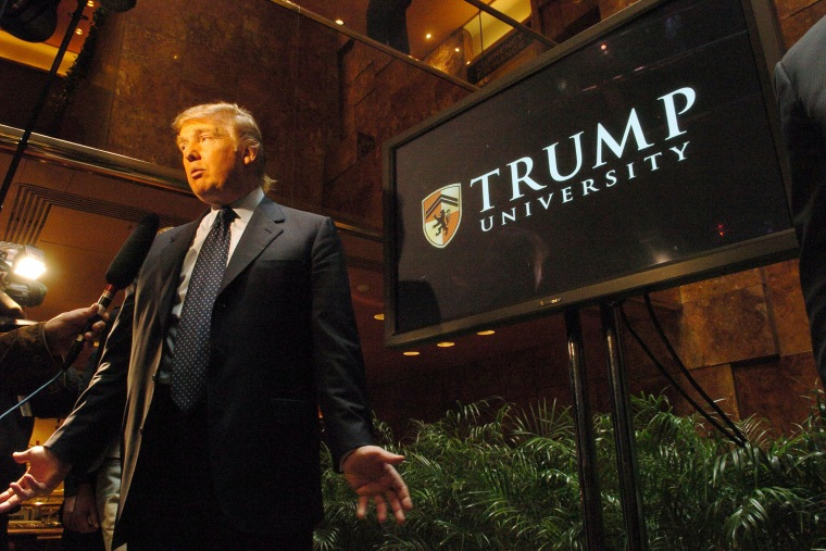 Donald Trump introduces Trump University at a press conference in Trump Tower, New York, May 2005. (Photo by Dan Herrick/KPA/ZUMA)