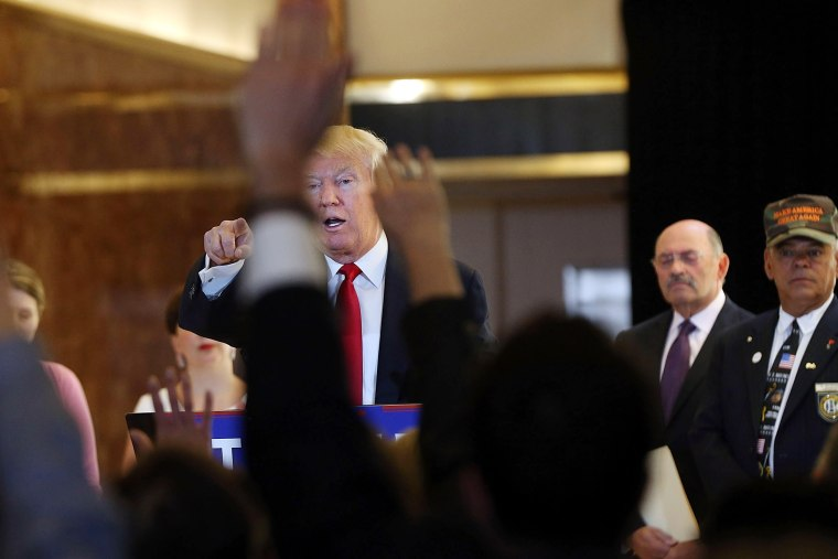 Republican presidential candidate Donald Trump speaks at a news conference where he addressed issues about the money he pledged to donate to veterans groups on May 31, 2016 in New York City. (Photo by Spencer Platt/Getty)