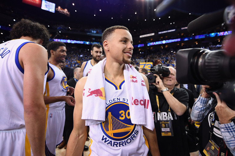 Stephen Curry of the Golden State Warriors at ORACLE Arena on April 13, 2016 in Oakland, Calif. (Photo by Thearon W. Henderson/Getty)