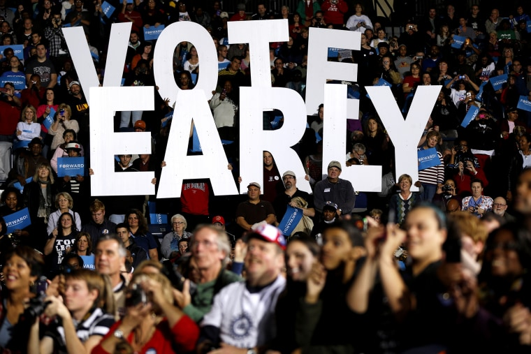 """In this Oct. 29, 2012 file photo a """"Vote Early"""" sign is held up by supporters at a rally for President Barack Obama in Youngstown, Ohio, referring to the """"golden week"""" now in contention. (Photo by Matt Rourke/AP)"""
